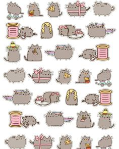 #pusheen cat FREE planner printable. #cricut ready ##planner #planneraddict #plannergeek #happyplanner #mambiplanner #plannerlove #stickers #plannerstickers #victoriathatcher #create365planner