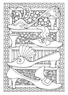 Downloadable adult Coloring page shoes
