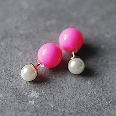 Specialholiday Double Pearl Earrings Ball Sided Stud Pinterest