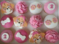 Paw Patrol's 'Skye' themed cupcakes for a second birthday Paw Patrol Cups, Bolo Do Paw Patrol, Skye Paw Patrol Cake, Torta Paw Patrol, Sky Paw Patrol, Paw Patrol Cupcakes, Paw Patrol Cake Toppers, Girls Paw Patrol Cake, Paw Patrol Everest