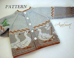 Pattern baby cardigan with a gaggle of geese.P043