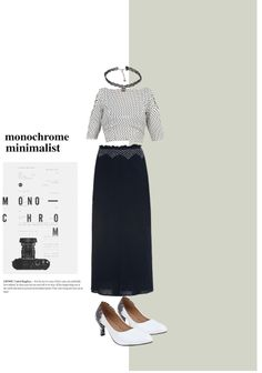 'Monochrome Minimalist' by me on Limeroad featuring White Pumps, Black Necklaces with Black Skirts