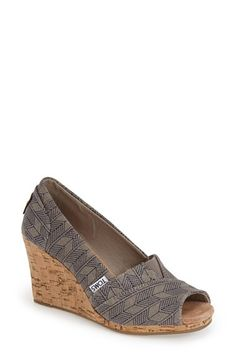 TOMS 'Classic - Shashiko' Woven Wedge Sandal (Women) available at #Nordstrom