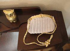 Vintage 1980's White Wicker Handbag / Purse With Gold Tone