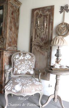 Bergère, fauteuil Louis XV patine truffe : Meubles et rangements par atelier-chanvre-patines
