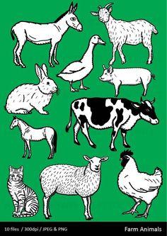 Farm Animal Clipart Clip Art Cow Sheep Pig Chicken Etsy Animal Clipart Animals Farm Animals