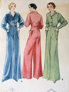 1930s McCALL Pattern 7247 ART DECO LOUNGING PAJAMAS EVENING JUMPSUIT DOLMAN SLEEVES WIDE LEGGED JEAN HARLOW GLAM GATSBY STYLE