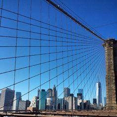 Manhattan Skyline from Brooklyn Bridge Fine Art by BeCoPhotography, $13.00
