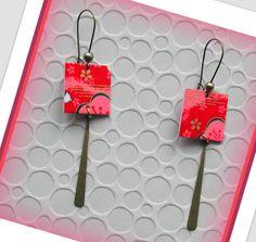 Cadeau de noel**Boucles d'oreilles papier japonais washi,rouge et rose/www.alittlemarket.com/boutique/lesartistesetvous : Boucles d'oreille par lesartistesetvous