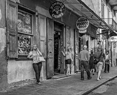 French Quarter - People Watching Bw