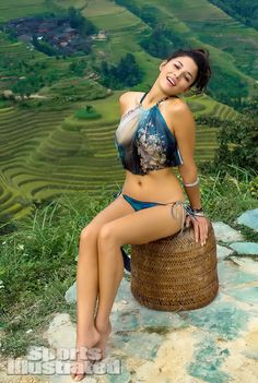 Jessica Gomes was photographed by Derek Kettela in Guilin, Guangxi Province, China. Swimsuit by Daniela Corte