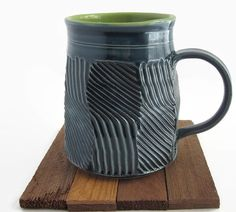 Unique Coffee Mug Handmade Ceramic Turquoise by ACoupleofCranes