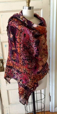 Nuno Felted Sari Shawl by RainasTextileHouse  Lightweight and warm, great color and texture.