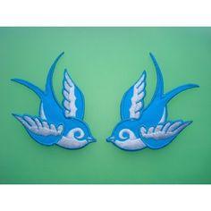 Tattoo Sparrow Swallow Couple Bird Blue/White Emo ($2.99)