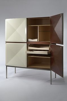 Antoine Philippon and Jacqueline Lecoq; Painted Palissander and Steel  'Pointe de Diamant' Cabinet for Behr, 1962.