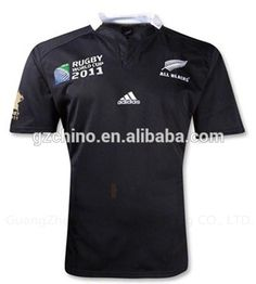 Black Embroidery World Cup Rugby Jersey #rugby_clothing, #World_Cup