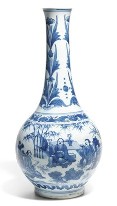 A blue and white bottle vase, circa 1640