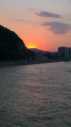 Sun setting over Gellert Hill Budapest