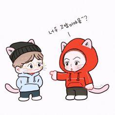 Baekhyun & Sehun ll 변백현 ll 오세훈 ll . Exo Cartoon, Cartoon Art, Chibi, Exo Anime, Types Of Boyfriends, Fanart, Exo Lockscreen, Exo Fan Art, Anime Love Couple