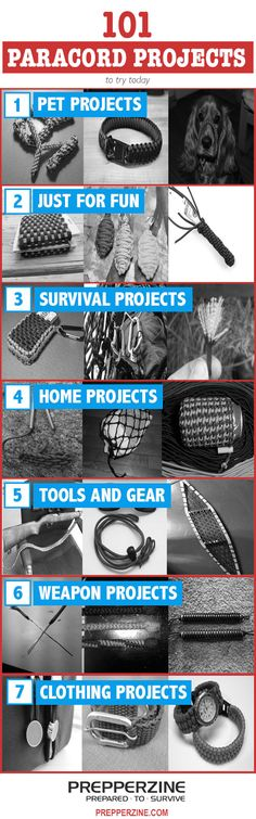 101 Paracord Projects!! Everything from pet projects to weapon projects are represented in this AWESOME guide (via PrepperZine). http://prepperzine.com/101-paracord-projects/ #paracord #prepper #projects #tying #knotting #crafting #survival #outdoors #paracord101 #craft #diy