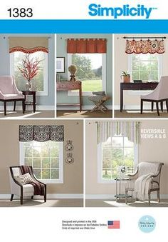 """Simplicity Creative Group - Valances for 36"""" to 40"""" Wide Windows"""