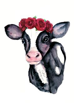 Watercolor calf with flower crown