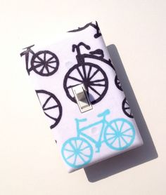 Bike Light Switch Plate Cover / Kids Room / Baby Nursery  / Blue, White, and Gray Bicycles / Its a Boy Thing Michael Miller Haze. $8.00, via Etsy.