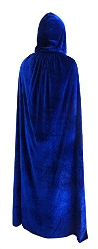 """Penta Angel Velvet Hooded Cloak Role Play Costume Christmas Halloween Party Cape (62"""", Blue) Full-length: 84inch/77inch/68inch/62inch WASHABLE $18.50 - $19.99"""