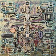 Artist Andy Jefferson; title Golden Civilzation; mixed media on board 30x30 cm, price CHF626 | Experience Jamaique
