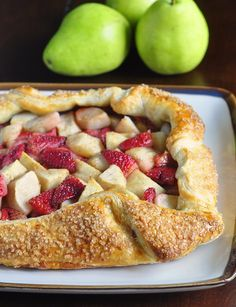 Dessert was never simpler or easier than this gorgeous pear and strawberry galette using frozen puff pastry as a shortcut for this quick summery treat.