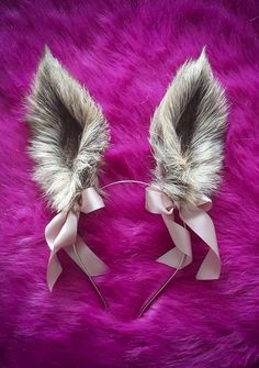 Light Beige-Gray Fluffy Realistic Rabbit Ears Faux Fur Ears