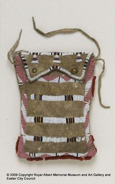 pouch - Acquired in 1877 at Bow River, Alberta, Canada at the time of the signing of Treaty 7, when Britain made a deal over land inhabited by indigenous peoples of that area. Pouch contains a bag made of European printed cotton fabric. Associated with Crowfoot. - Royal Albert Memorial Museum & Art Gallery, Exeter