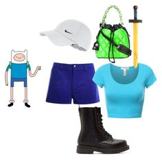"""""""Finn the Human"""" by chiara-calcagno ❤ liked on Polyvore featuring Dr. Martens, Moschino and NIKE"""