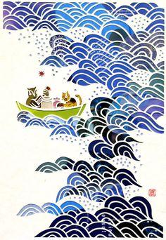 "Vintage-inspired ""The Owl and the Pussycat"" by Mayuko Fujino. Illustration Inspiration, Illustration Art, Arte Peculiar, The Pussycat, Origami, Mandala, Art Graphique, Cool Artwork, Amazing Artwork"