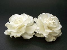 Bridal Ivory Magnolia French Silk Flower Pin Wedding Dress Accessory Abstract-Impressionist LaLuna Magnolia wedding dress flower pin is great for any occasion. Wear it to embellish your dress, hat, or simply pinup in your hair. These beautiful magnolia blooms are custom hand-crafted in light ivory pearl silk fabric. Middle adorned with pearly stamens.