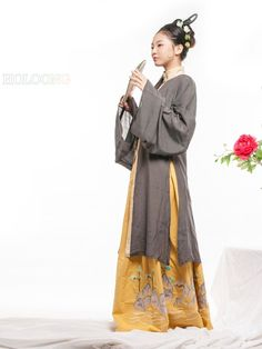 Cotton Ancient Chinese Costumes Curved hem dress Quju Han Dynasty Hanfu Womens Clothing - US $184.00