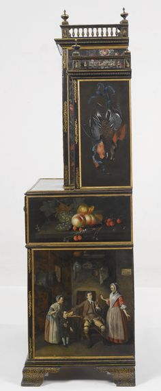 A FINE AND RARE ENGLISH PAINTED-TÔLE EBONIZED AND PARCEL-GILT SECRETAIRE BOOKCASE THE TÔLE PANELS, LAST QUARTER 18TH CENTURY, THE CARCASS LATE 18TH AND EARLY 19TH CENTURY