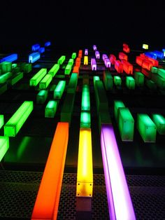 Platform Design and/or Backdrop Different colored PVC gift boxes with florescent lights/led