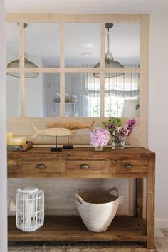 Hall design in wood with lilac on the hall table Great walnut hall console table with drawers and open storage space Decor, Foyer Decorating, Sweet Home, Interior, Diy Home Decor, Home Decor, Hall Decor, Fresh Living Room, Home Deco