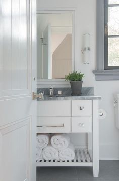 White and Gray Bathroom with Freestanding Washstand