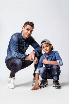 "Cristiano Ronaldo shares the spotlight for his latest campaign. The famous soccer player is joined by his son Cristiano Ronaldo Jr. for Denim's spring-summer 2018 campaign. The outing features a ""Mini-Me"" collection inspired by Cristiano Ronaldo 7, Cr7 Ronaldo, Ronaldo Football, Messi Soccer, Cr7 Jr, Cr7 Wallpapers, Ronaldo Quotes, Cr7 Junior, Fc Chelsea"