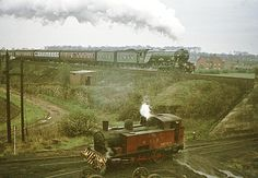 Flying Scotsman heading north through Woodlesford with a special train in the late 1960s. In the foreground, whistling a salute, is Water Haigh Colliery's shunting engine, Whit No. 4. Water Haigh Farm is in the background. (Photo by Derek Rayner).