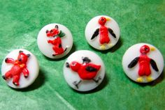 "(5) 3/8"" PENGUIN DOG BEAR CHICK on WHITE GLASS SHANK BUTTONS - VINTAGE Lot#GB384"