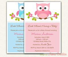 Owl Baby Shower Invitations PRINTABLE DIY (for Baby Boy and Baby Girl) or 1st Birthday Invitation. $12.00, via Etsy.