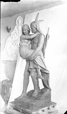 Hiawatha and Minnehaha statue, created by sculpture Jacob Fjelde, before its 1912 placement at Minnehaha Park. Minnesota Historical Society, Minneapolis, Nostalgia, Photograph, Sculpture, Statue, Park, History, Image