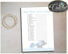 Little Peanut WORD SCRAMBLE baby shower boy game in chevron blue elephant printable theme, digital files, Jpg Pdf, instant download - ebl02 #babyshowerparty #babyshowerinvites