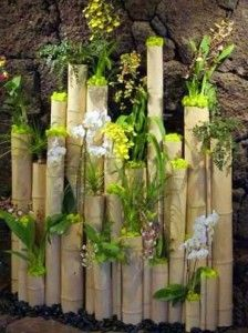 Vertical elements in the garden - Bamboo Logs, varying heights