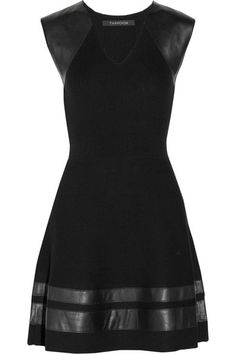 Thakoon black leather trimmed ribbed wool dress.