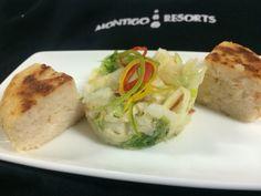 Fish cake with salad
