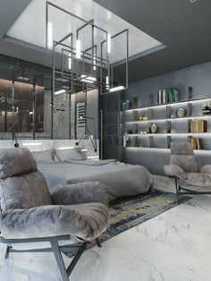 High-tech style in a modern design residential interiors decision Loft, Awesome Bedrooms, Minimalist Home, Interior Design Living Room, Interior Architecture, Modern Design, Bedroom Decor, House Design, Home Decor